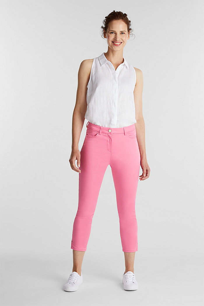 Knee-length satin business trousers, PINK, detail image number 1
