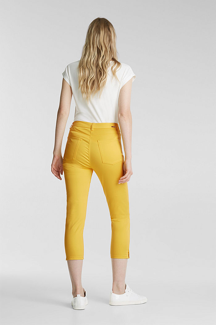 Knee-length satin business trousers, YELLOW, detail image number 3