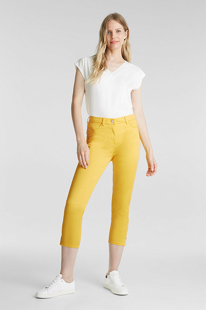 Knee-length satin business trousers, YELLOW, detail image number 1