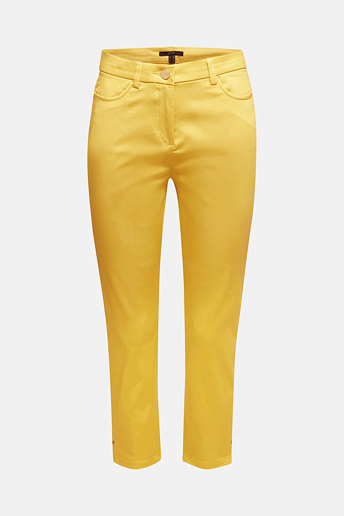 Knee-length satin business trousers, YELLOW, detail image number 6