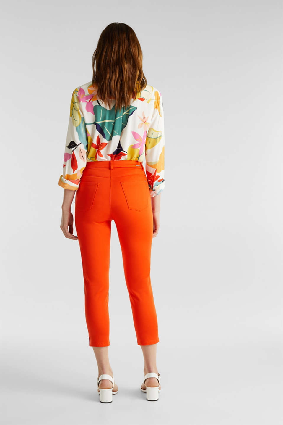 Knee-length satin business trousers, RED ORANGE, detail image number 3
