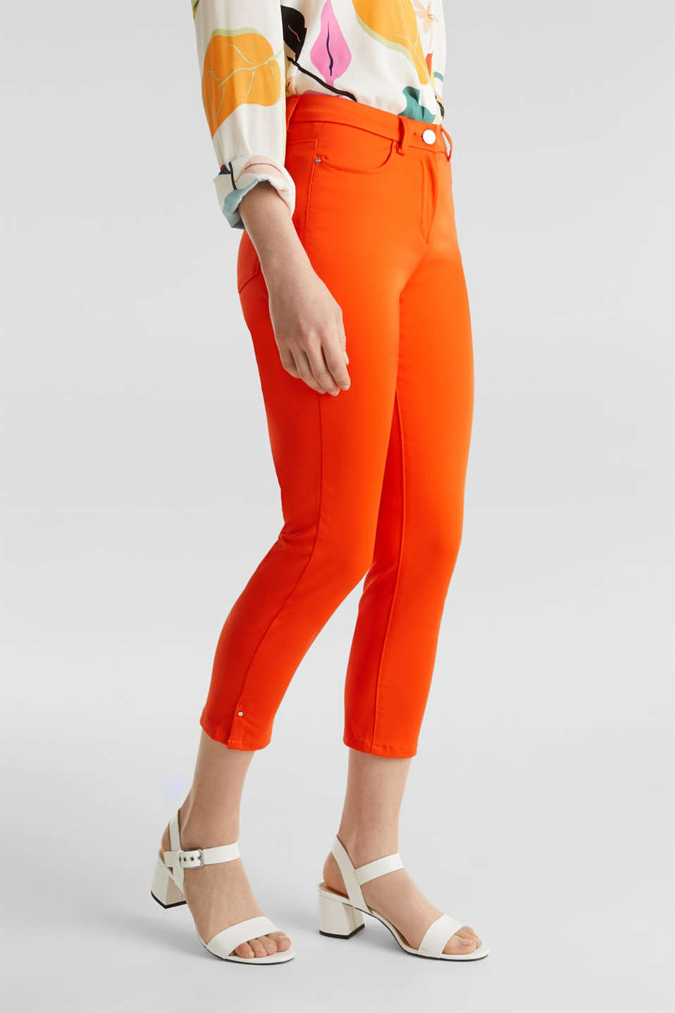 Knee-length satin business trousers, RED ORANGE, detail image number 6