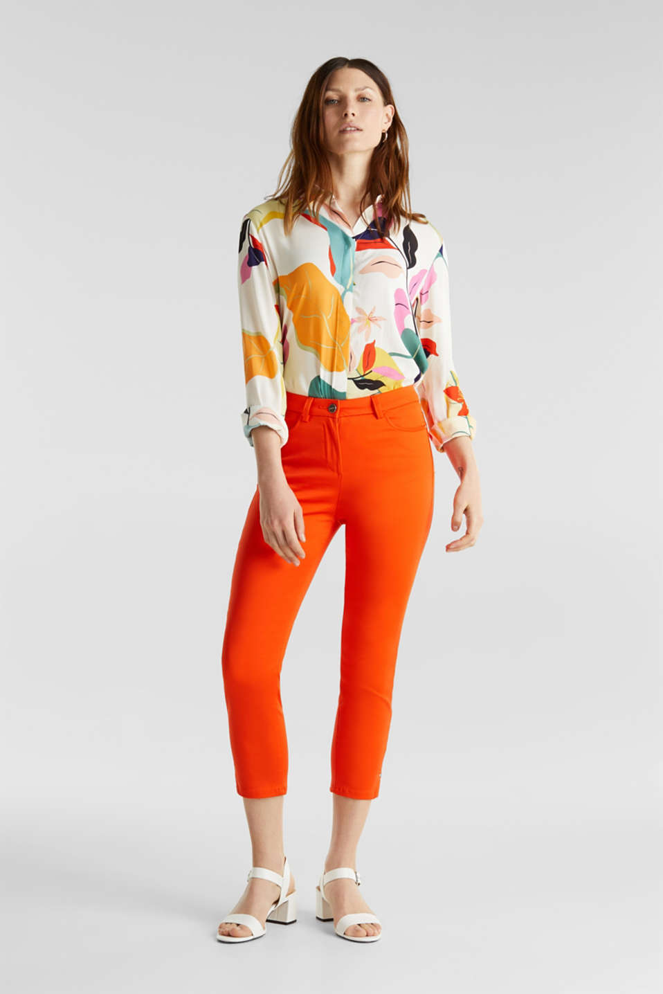 Knee-length satin business trousers, RED ORANGE, detail image number 1