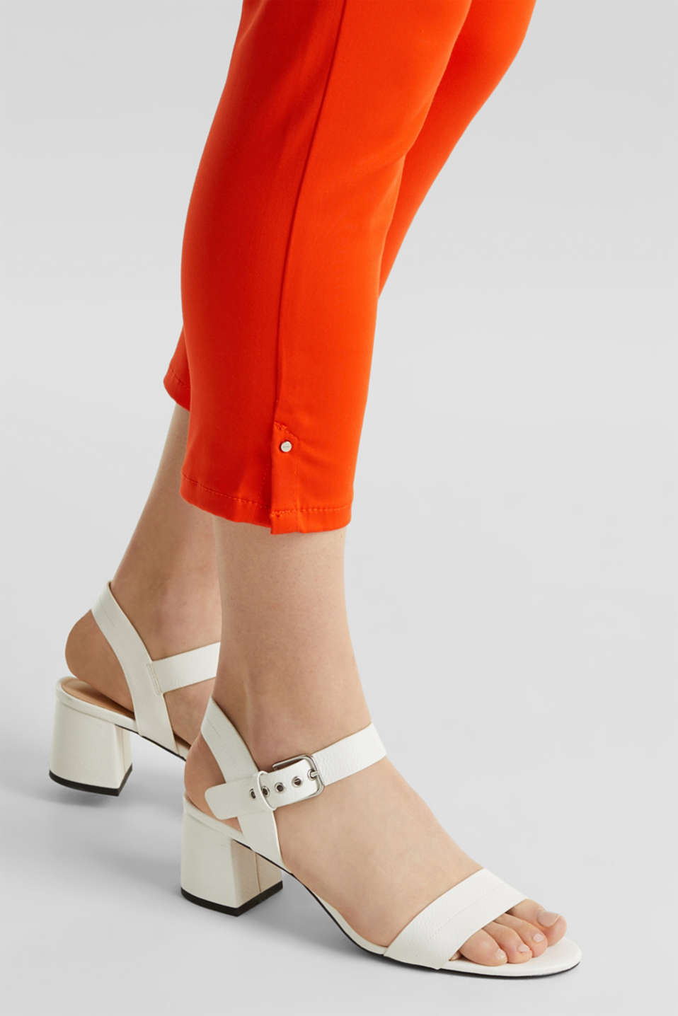 Knee-length satin business trousers, RED ORANGE, detail image number 5