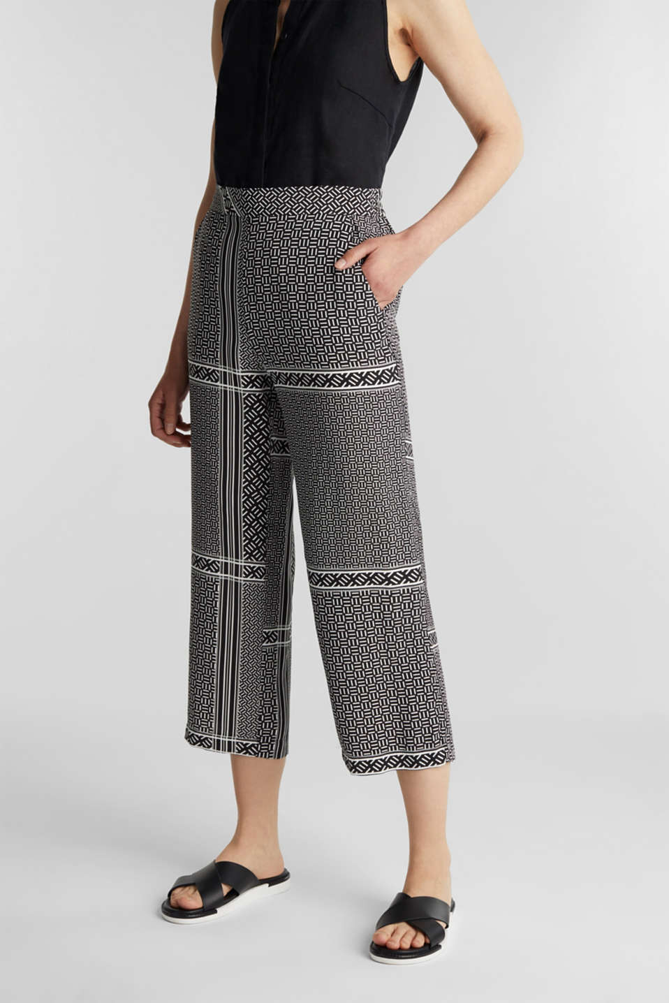 Culottes with an elasticated waistband, BLACK 3, detail image number 0