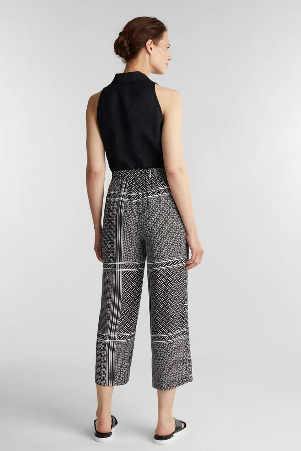 Culottes with an elasticated waistband, BLACK 3, detail image number 3