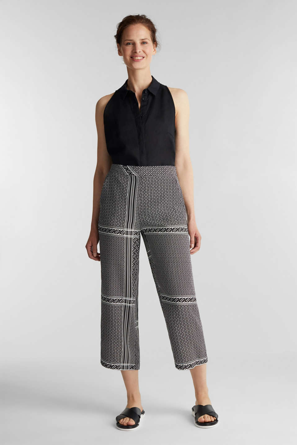 Culottes with an elasticated waistband, BLACK 3, detail image number 1
