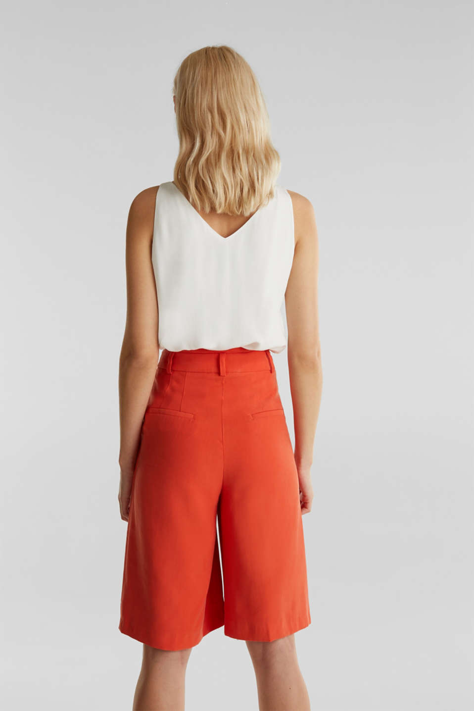 Flowing Bermudas with a wide leg, RED ORANGE, detail image number 3