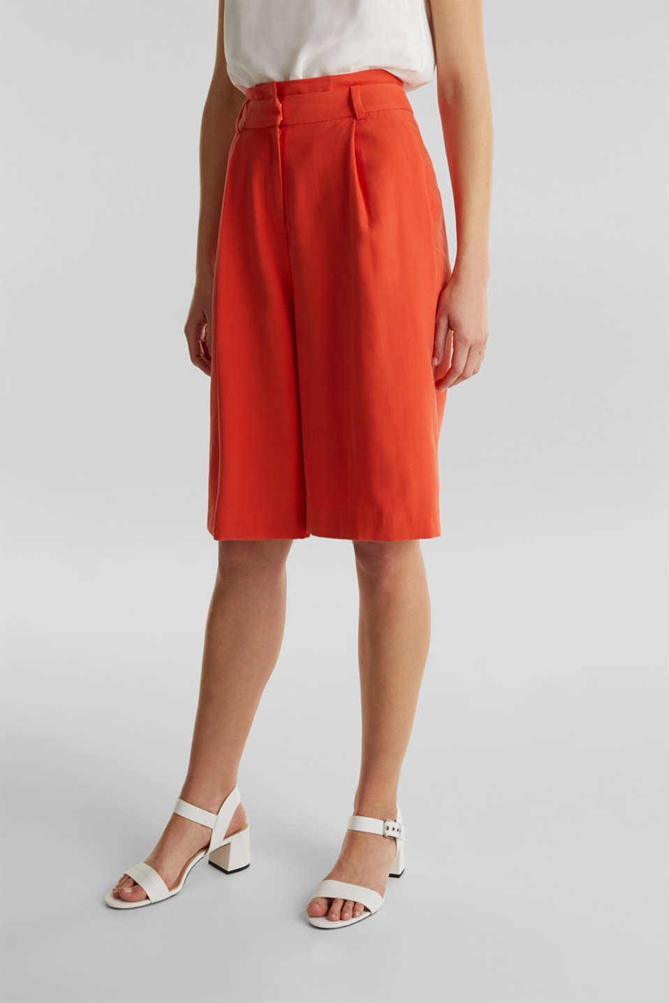 Flowing Bermudas with a wide leg, RED ORANGE, detail image number 6
