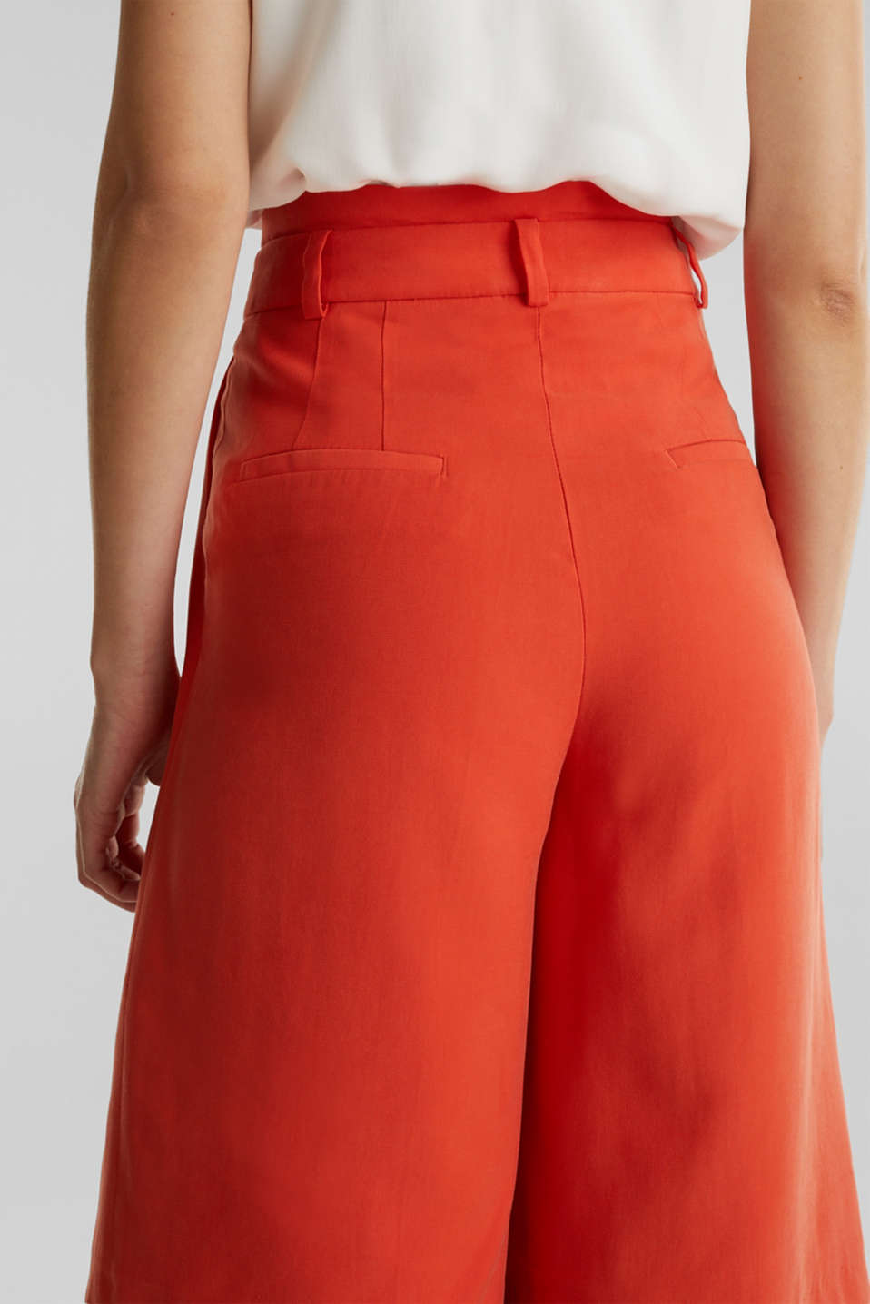 Flowing Bermudas with a wide leg, RED ORANGE, detail image number 5