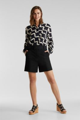 High-rise shorts with a belt, BLACK, detail
