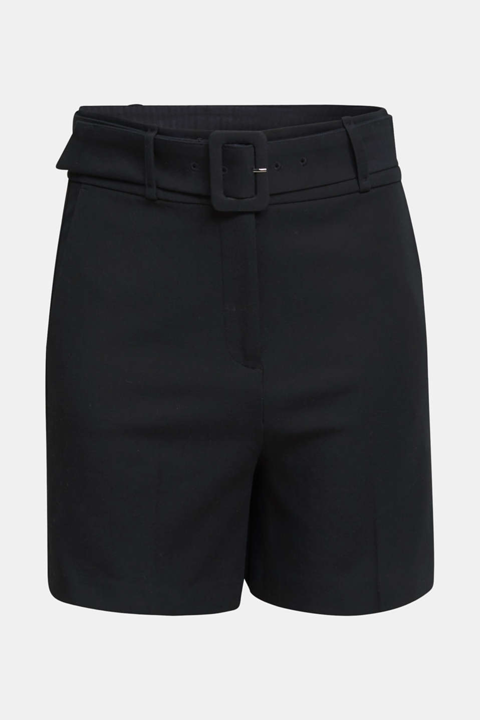High-rise shorts with a belt, BLACK, detail image number 6