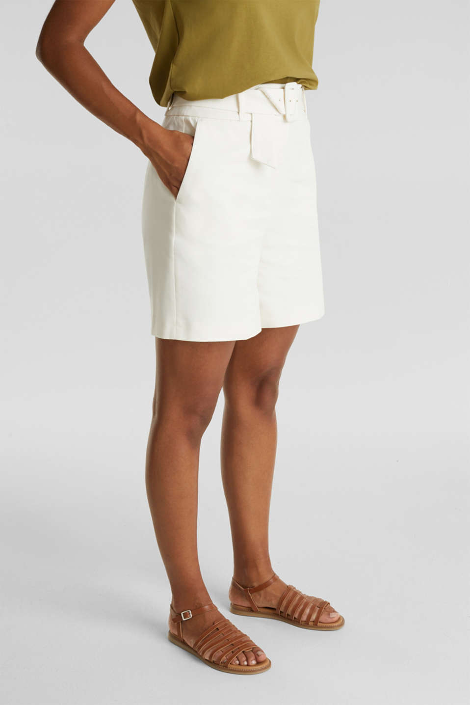 High-rise shorts with a belt, OFF WHITE, detail image number 0