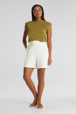 High-rise shorts with a belt, OFF WHITE, detail