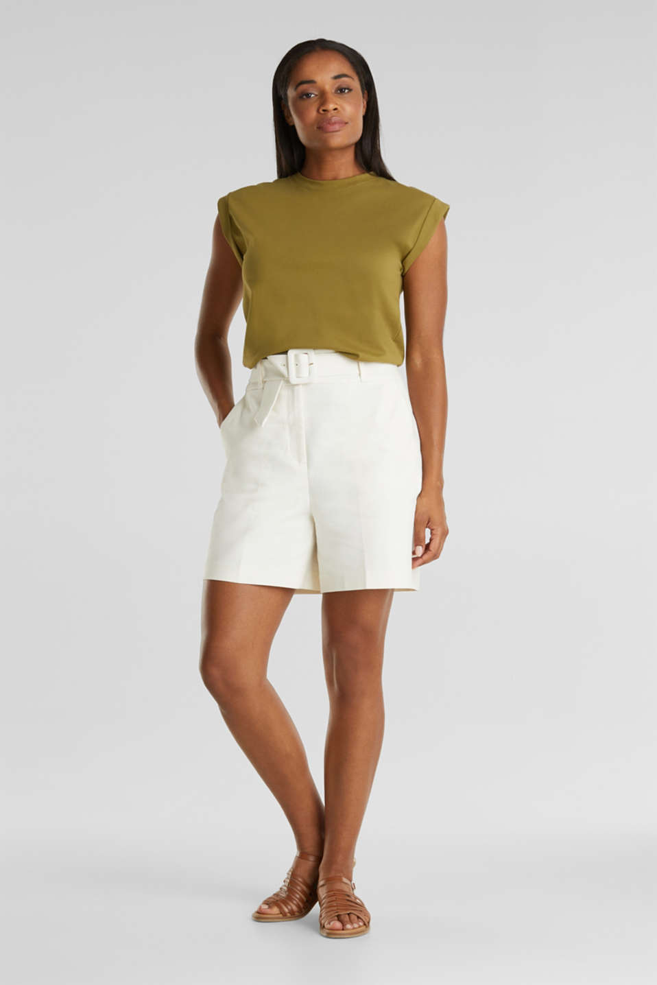 High-rise shorts with a belt, OFF WHITE, detail image number 1