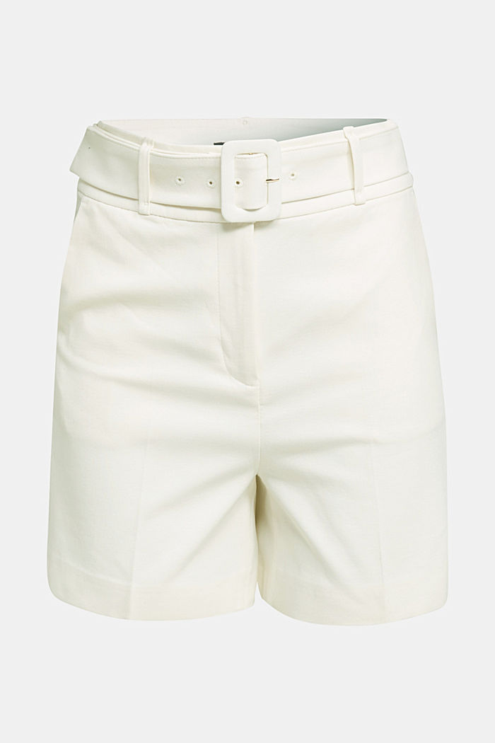 High-Rise-Shorts mit Gürtel, OFF WHITE, detail image number 5