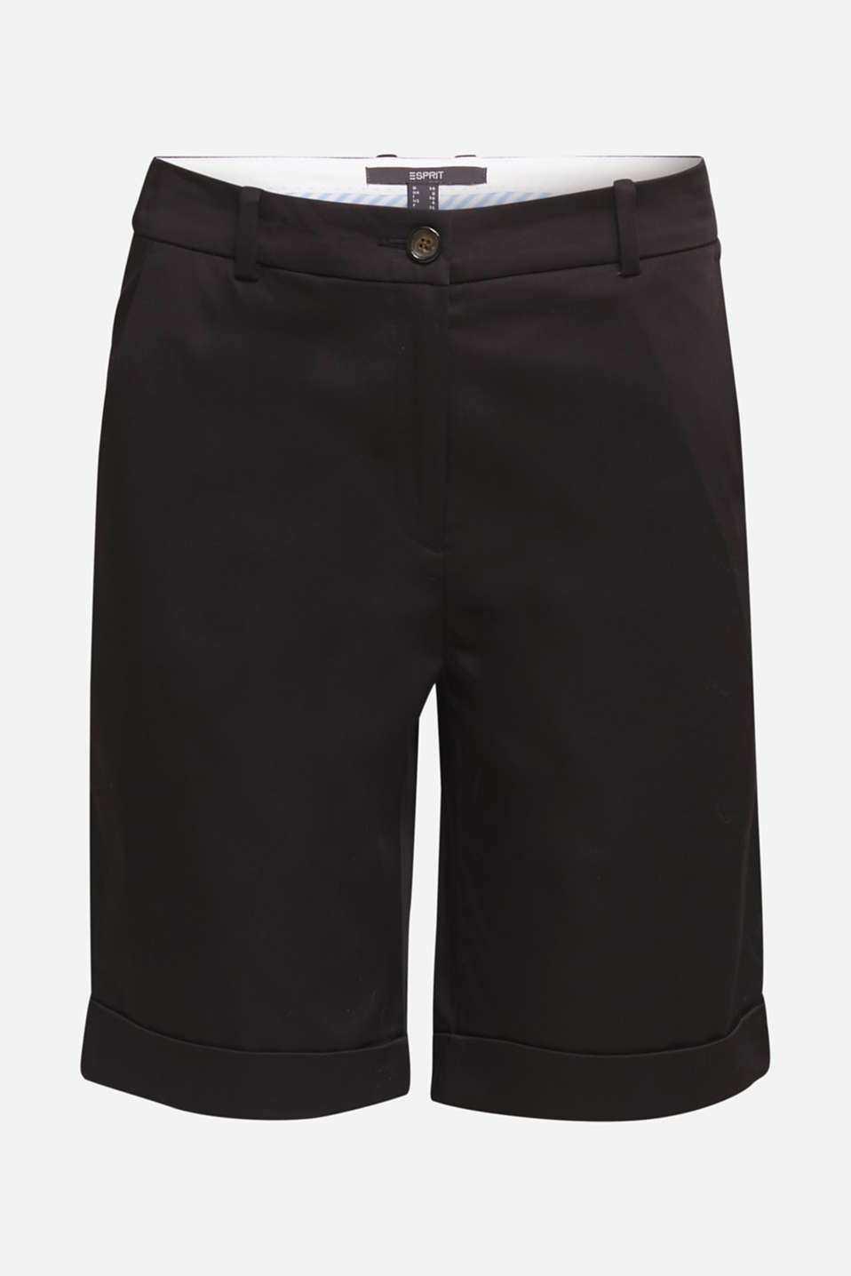 Stretchy satined Bermuda shorts, BLACK, detail image number 8