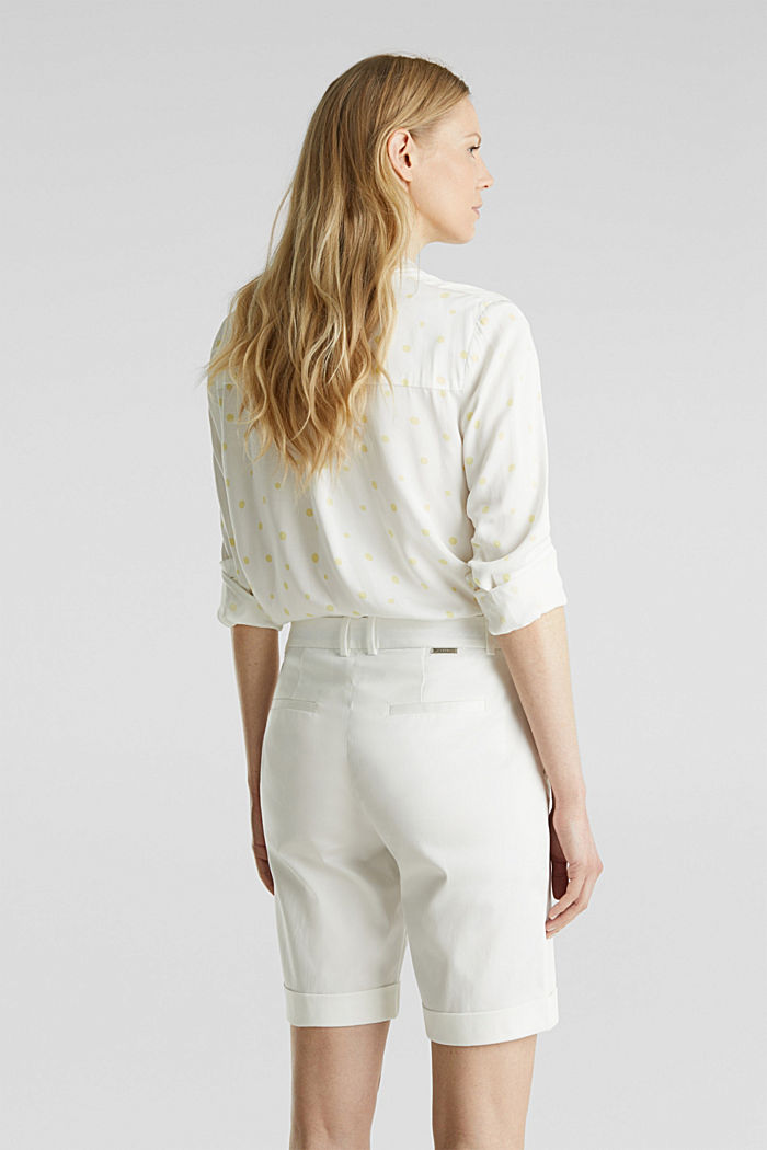 Stretchy satined Bermuda shorts, WHITE, detail image number 2