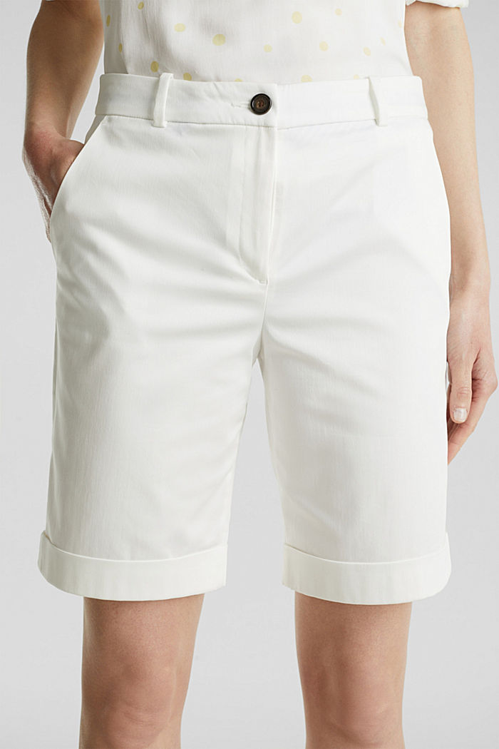 Stretchy satined Bermuda shorts, WHITE, detail image number 1