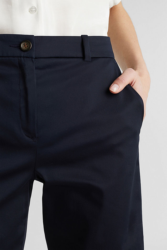 Stretchy satined Bermuda shorts, NAVY, detail image number 2