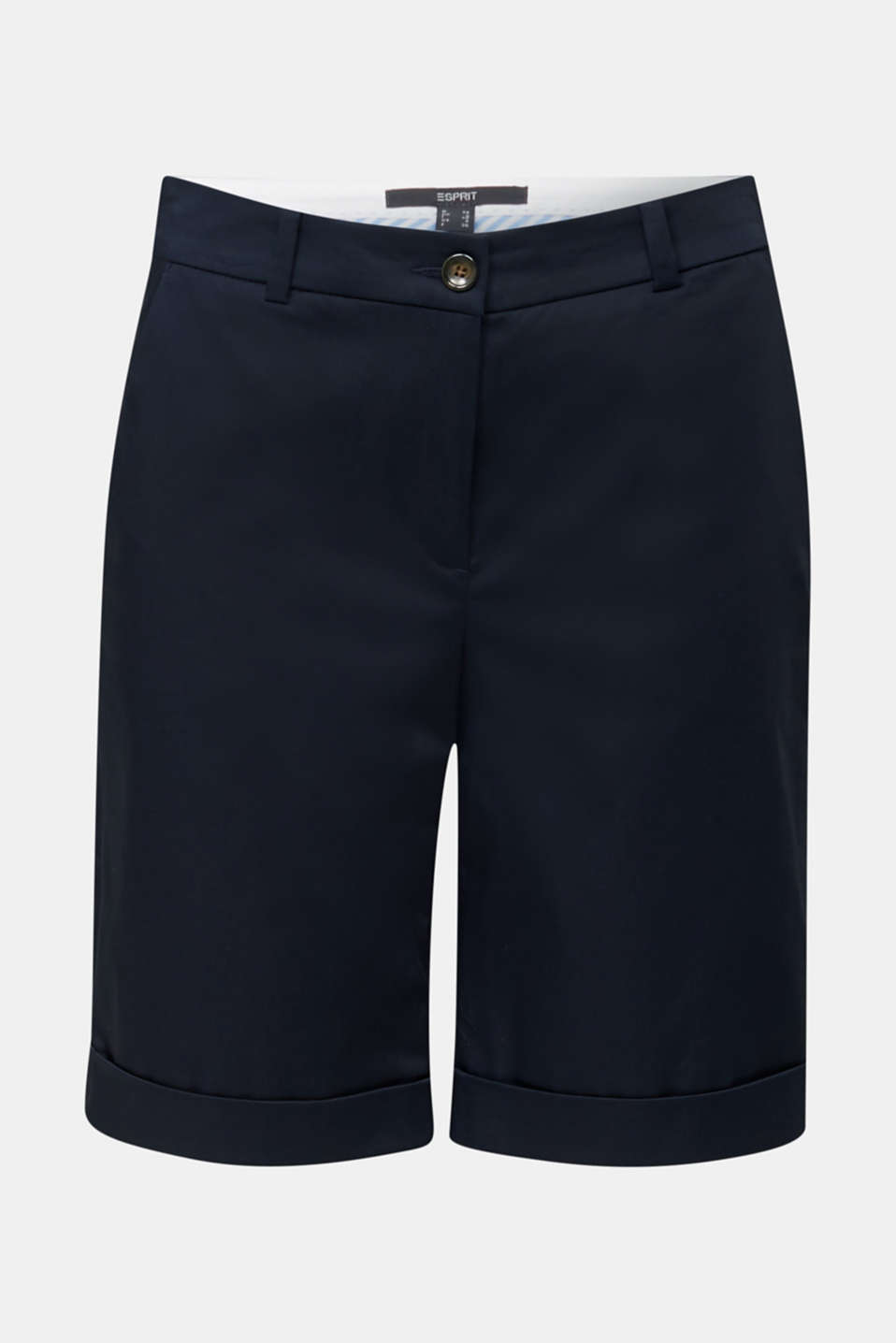 Stretchy satined Bermuda shorts, NAVY, detail image number 7