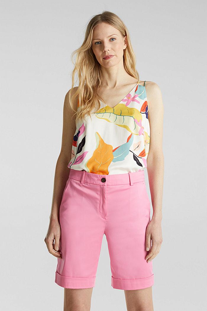 Stretchy satined Bermuda shorts, PINK, detail image number 0