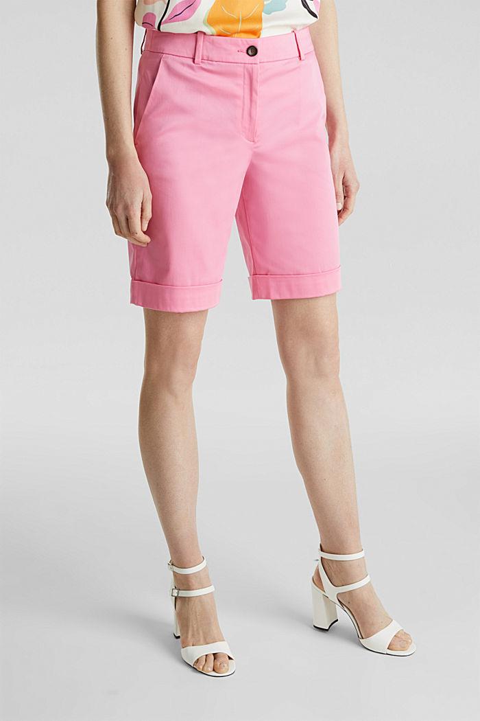 Stretchy satined Bermuda shorts, PINK, detail image number 6