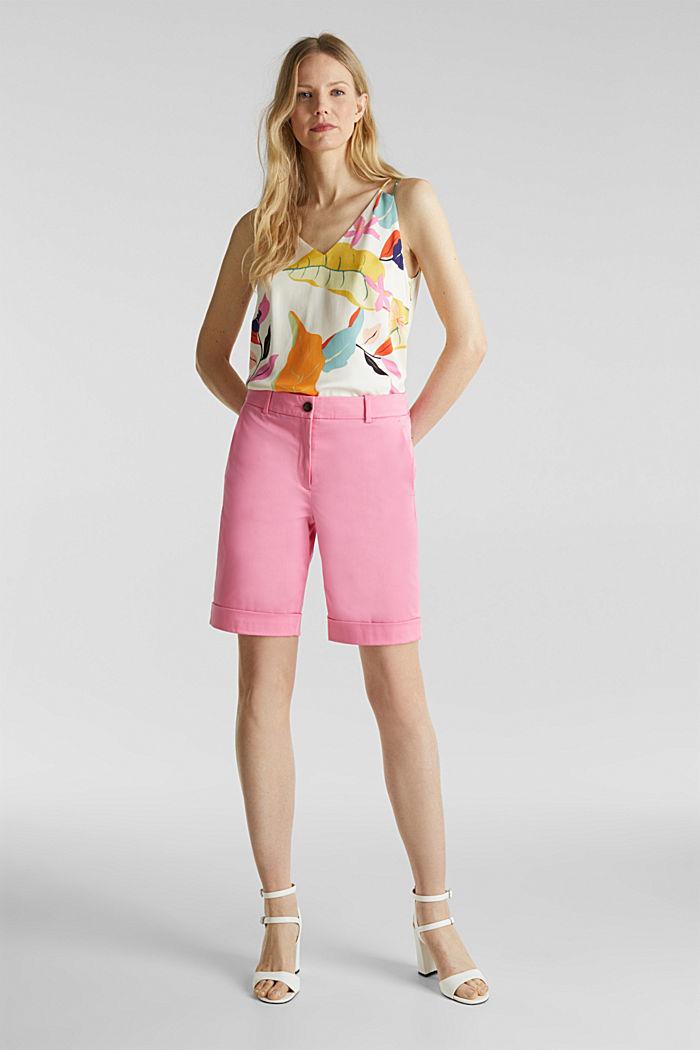 Stretchy satined Bermuda shorts, PINK, detail image number 1