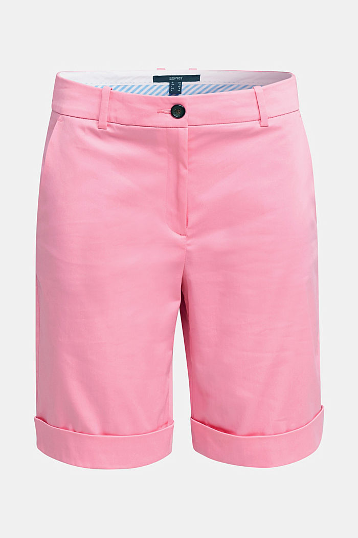 Stretchy satined Bermuda shorts, PINK, detail image number 7