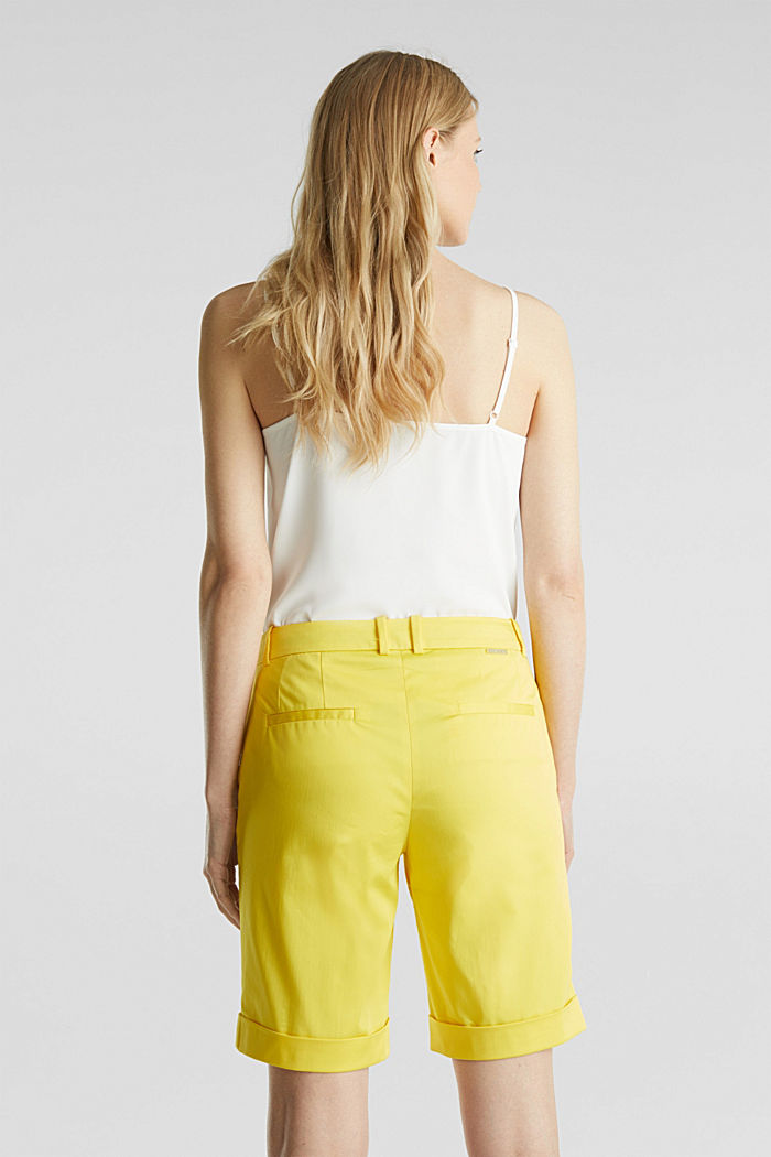 Stretchy satined Bermuda shorts, YELLOW, detail image number 3
