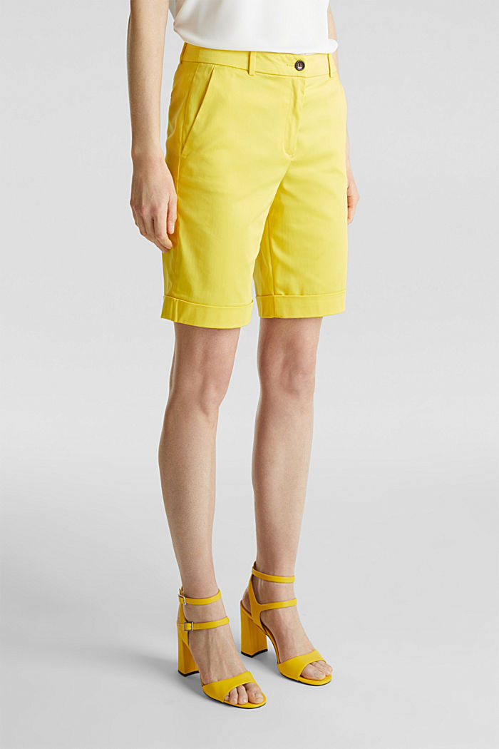 Stretchy satined Bermuda shorts, YELLOW, detail image number 6