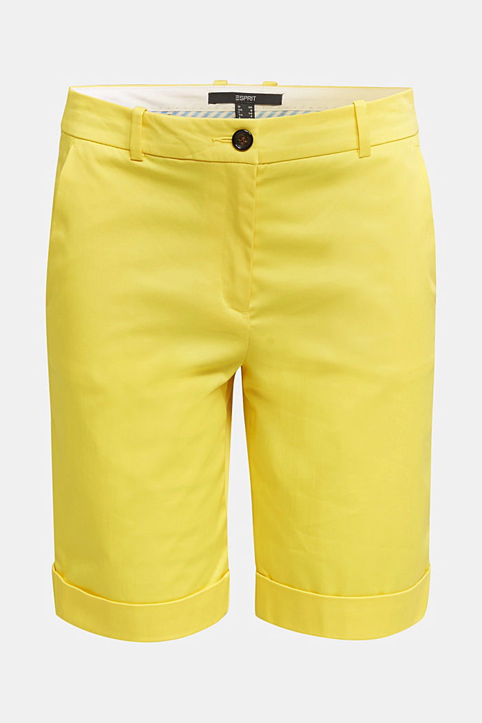 Stretchy satined Bermuda shorts, YELLOW, detail image number 7