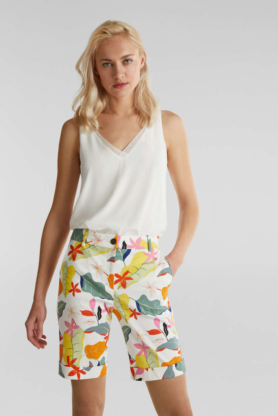 Satined Bermudas with a tropical print, OFF WHITE 4, detail image number 0