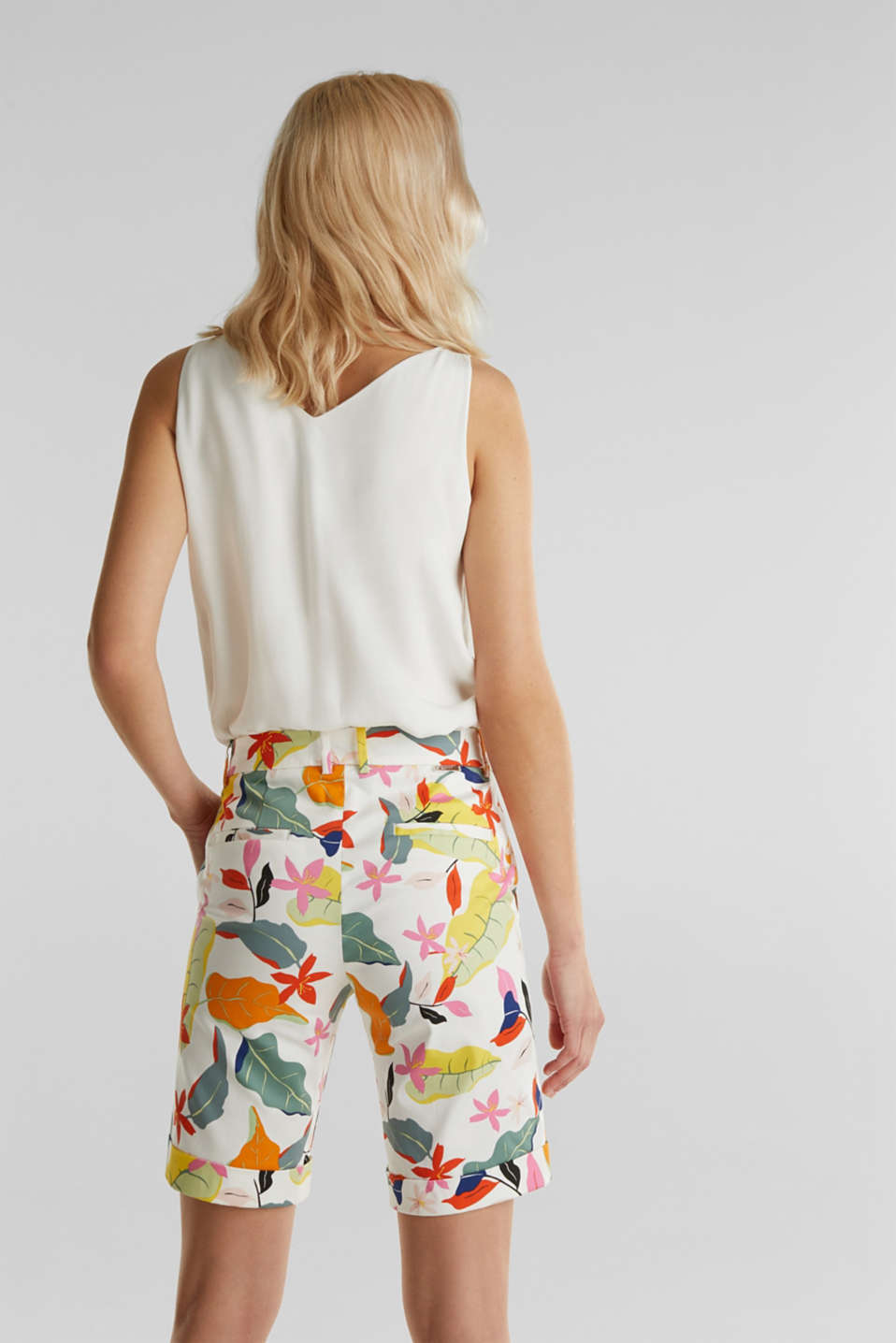Satined Bermudas with a tropical print, OFF WHITE 4, detail image number 3