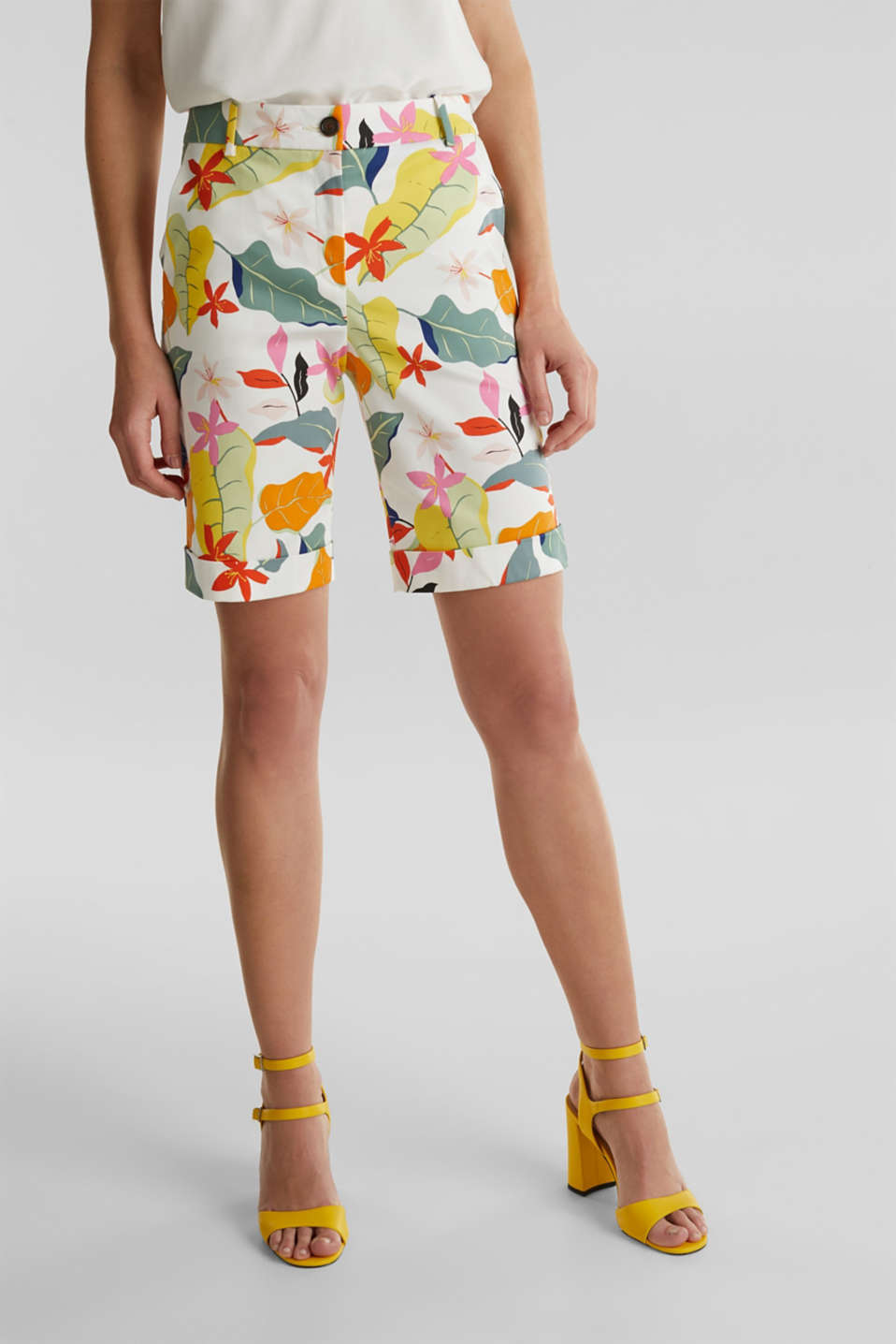 Satined Bermudas with a tropical print, OFF WHITE 4, detail image number 6