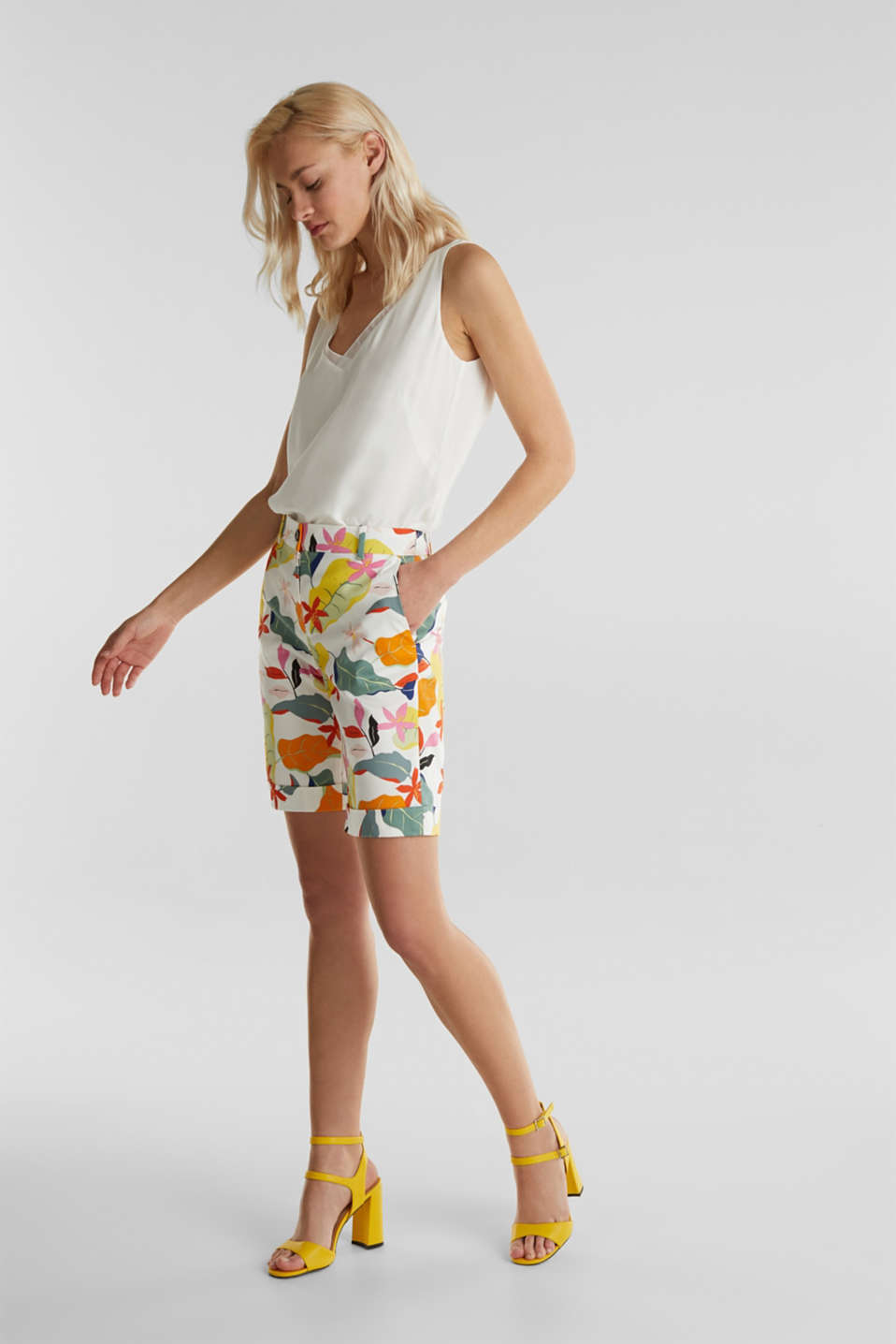 Satined Bermudas with a tropical print, OFF WHITE 4, detail image number 7