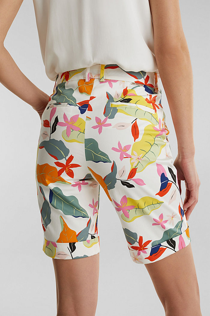 Satined Bermudas with a tropical print, OFF WHITE, detail image number 5