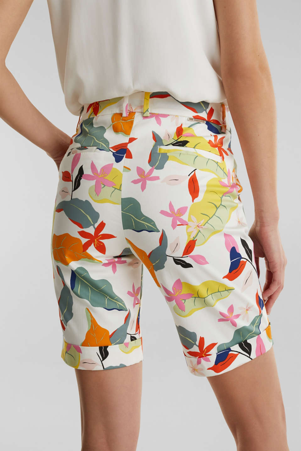 Satined Bermudas with a tropical print, OFF WHITE 4, detail image number 5