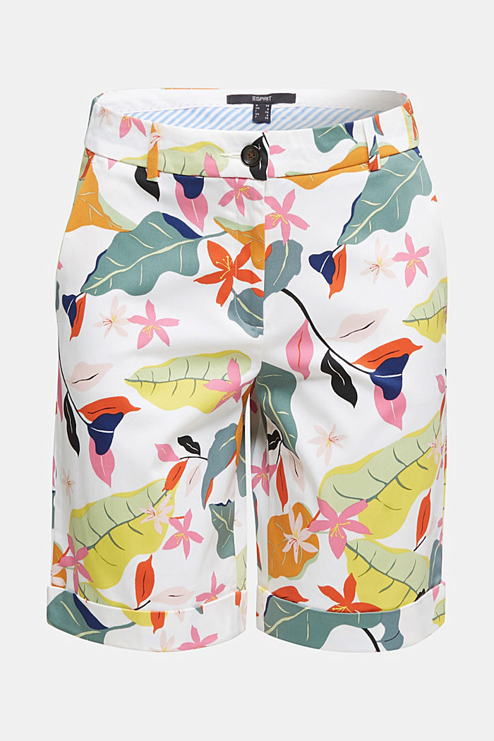 Satined Bermudas with a tropical print, OFF WHITE, overview