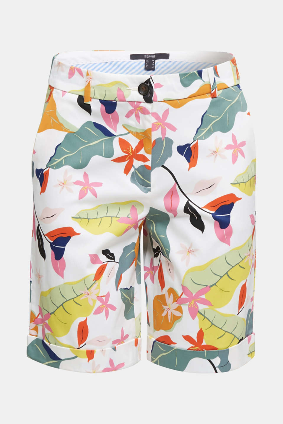 Satined Bermudas with a tropical print, OFF WHITE 4, detail image number 8