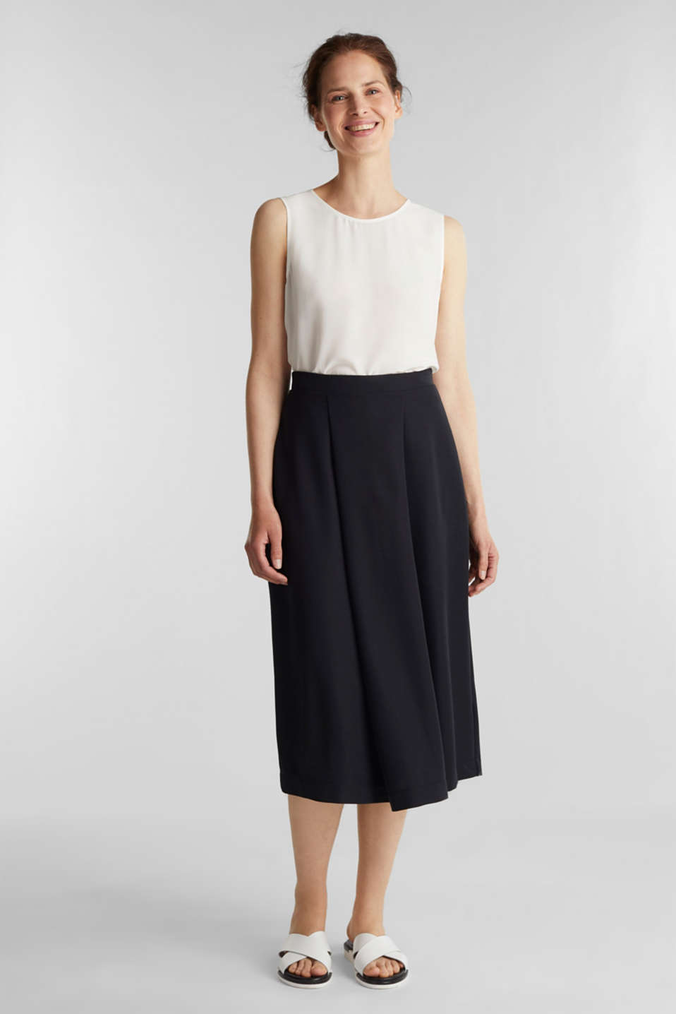 Piqué midi skirt, BLACK, detail image number 0