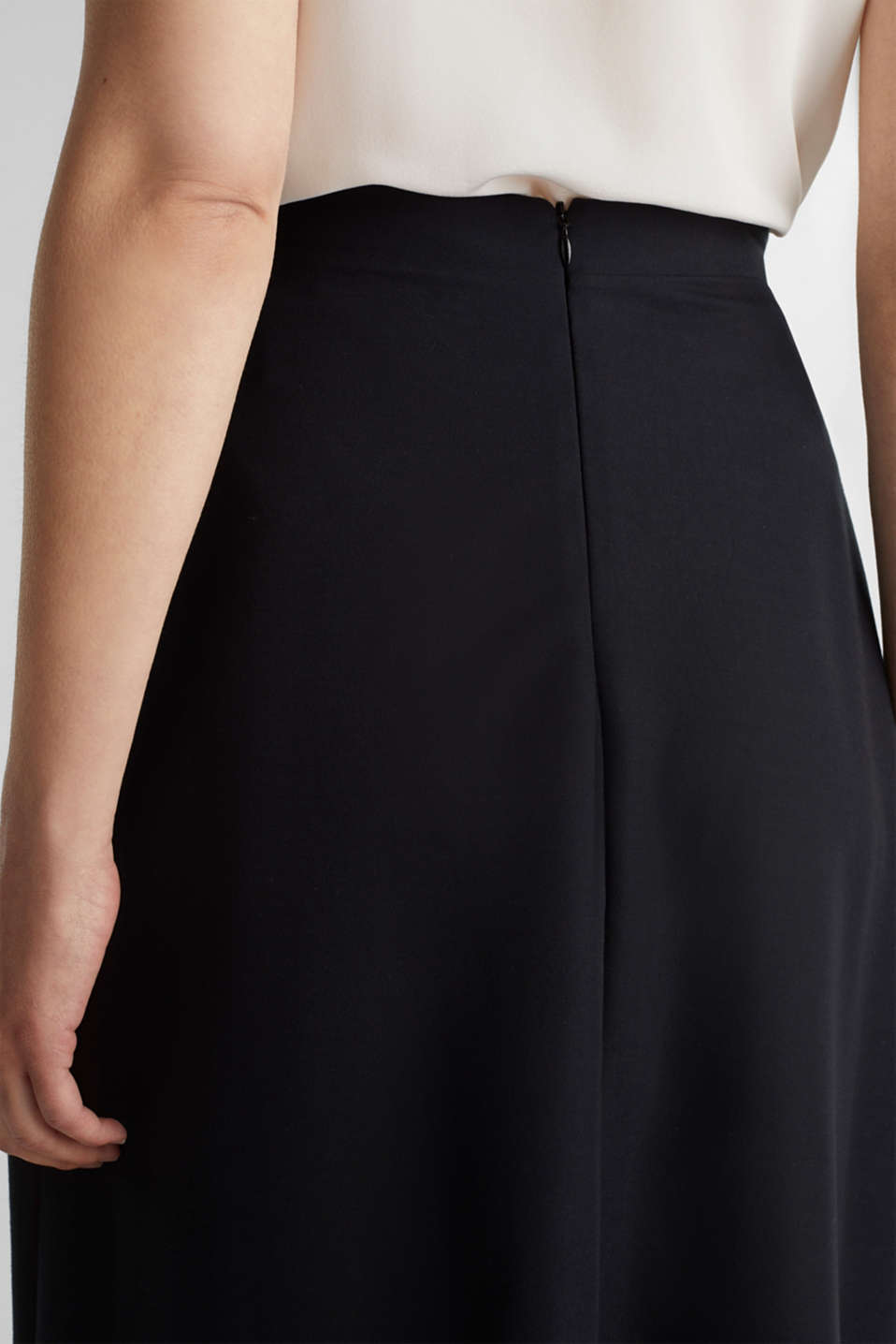 Piqué midi skirt, BLACK, detail image number 2