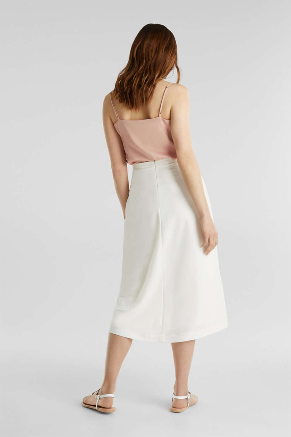 Piqué midi skirt, OFF WHITE, detail image number 2