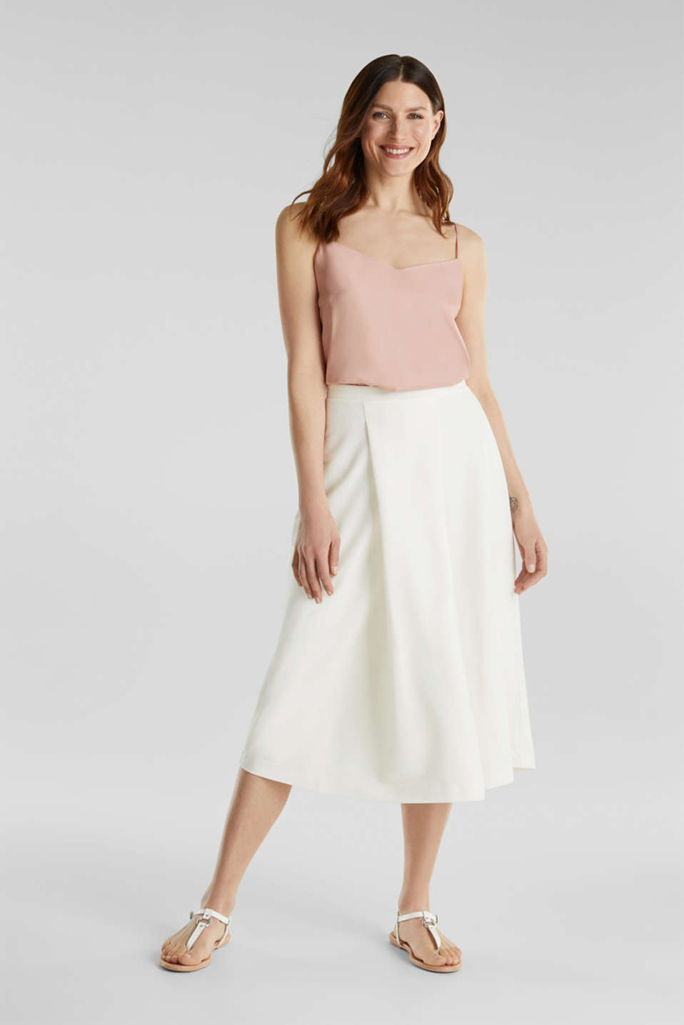 Piqué midi skirt, OFF WHITE, detail image number 1