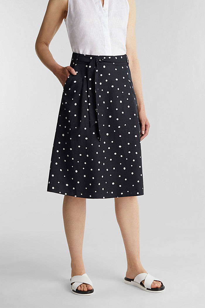 Blended linen: A-line skirt, BLACK, detail image number 0