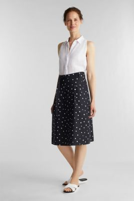 Blended linen: A-line skirt, BLACK 3, detail