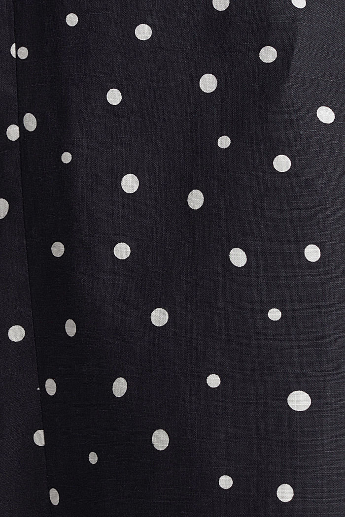 Blended linen: A-line skirt, BLACK, detail image number 4