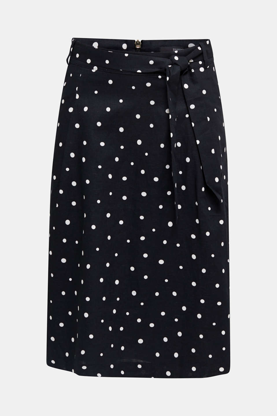 Blended linen: A-line skirt, BLACK 3, detail image number 6