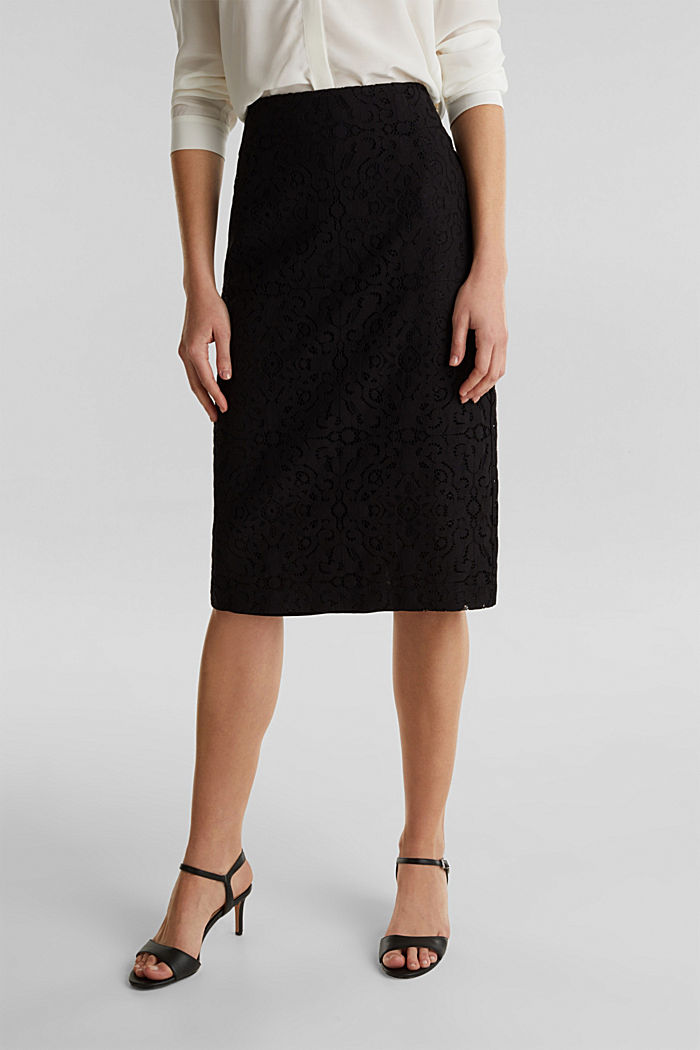 Lace pencil skirt, BLACK, detail image number 0