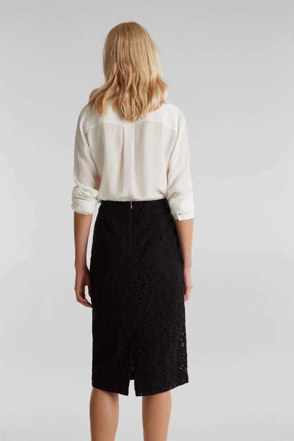 Lace pencil skirt, BLACK, detail image number 3